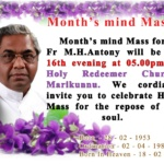 MONTH'S MIND MASS FOR FR M H ANTONY